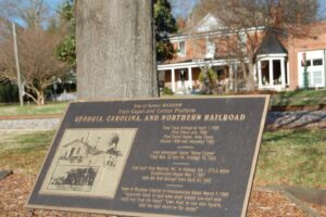Historical marker located in front of Waxhaw's hotel near the train station